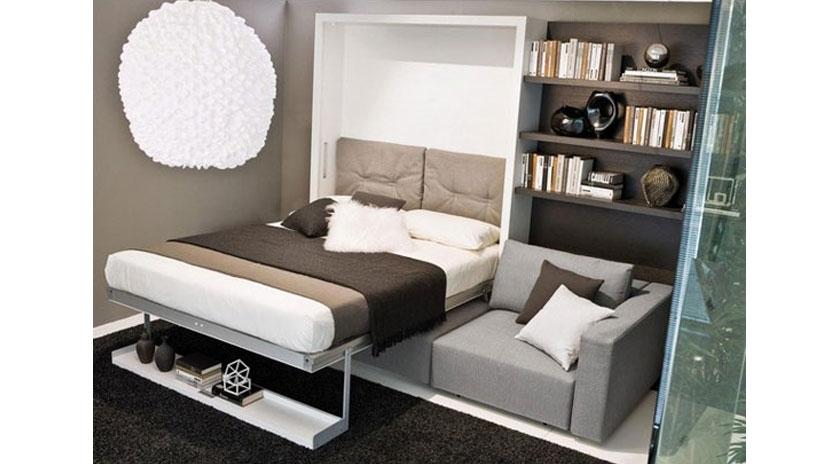 Mueble cama abatible con amplio sof al frente sofas - Mueble con cama abatible ...