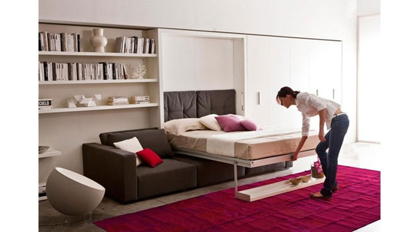 Mueble cama abatible con amplio sof al frente sofas for Sofa cama armario