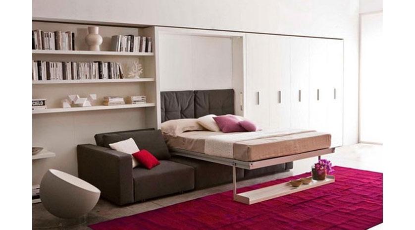 Mueble cama abatible con amplio sof al frente sofas for Muebles con sofa cama