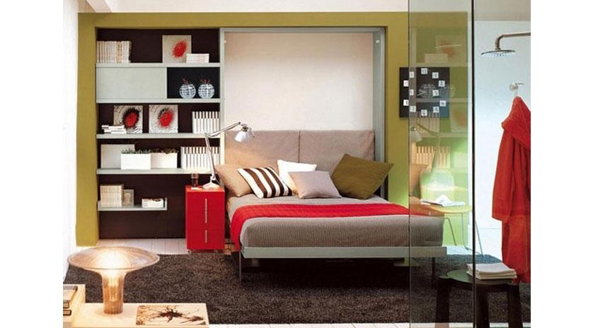 Mueble cama de matrimonio abatible con escritorio frontal - Muebles con cama abatible ...