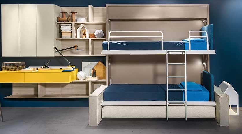 mueble cama con litera abatible y sofá