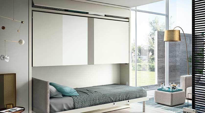 mueble cama con literas abatibles en horizontal