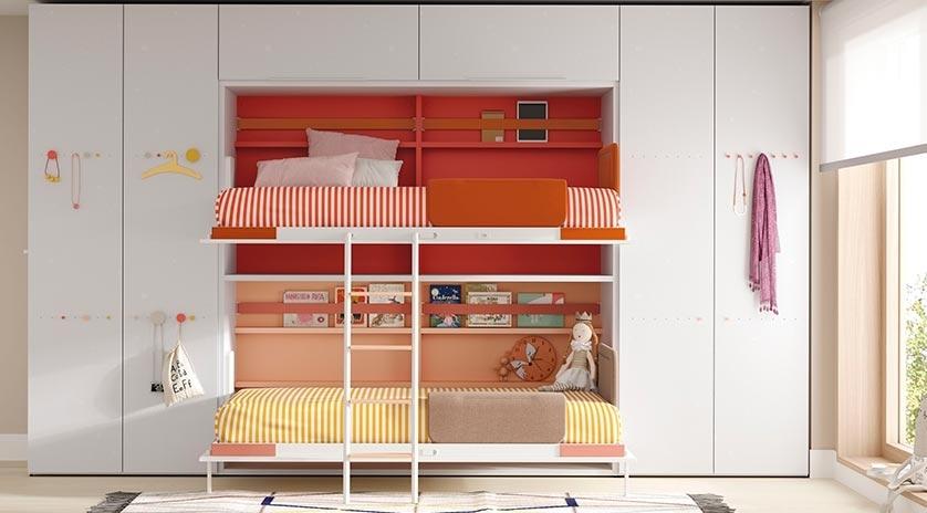 Litera con dos camas de 90 x 190 abatible horizontal sofas cama cruces - Cama litera abatible ...