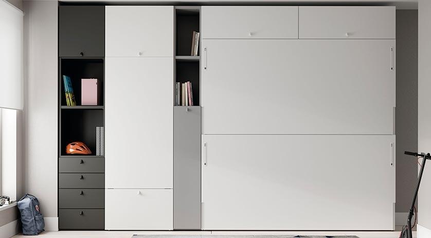 Litera abatible horizontal con mesa estudio sofas cama cruces - Muebles literas abatibles ...