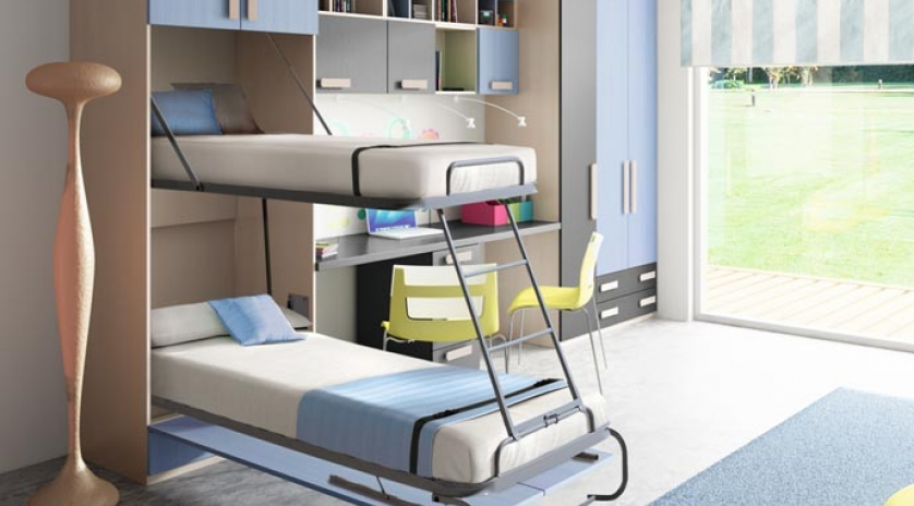 Litera abatible vertical con somier de lamas sofas cama for Sofas cama de 90 de ancho