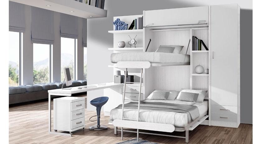 Litera abatible vertical de 135 x 190 y litera de 90 x 190 arriba sofas cama cruces - Cama con escritorio abajo ...