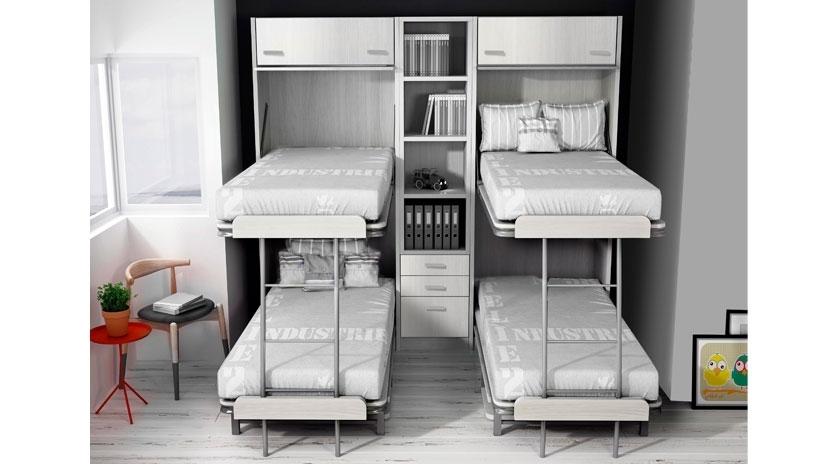Literas abatibles verticales de 90 x 190 con escritorio delante sofas cama cruces - Camas abatibles literas ...