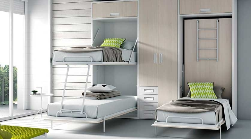 Mueble cama con litera abatible vertical sofas cama cruces - Litera abatible vertical ...
