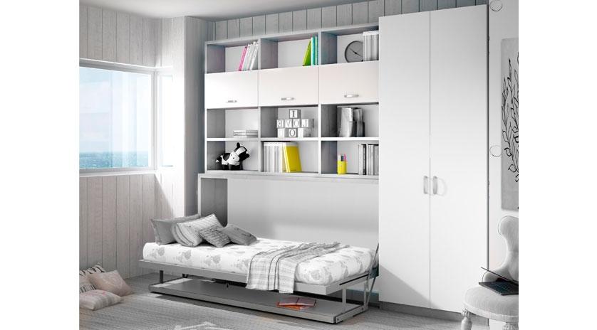 Mueble cama abatible horizontal de 90 x 190, con mesa.