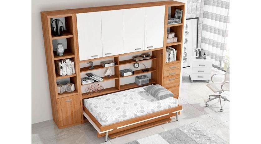 Mueble cama horizontal de matrimonio con mesa y armarios for Mueble cama matrimonio