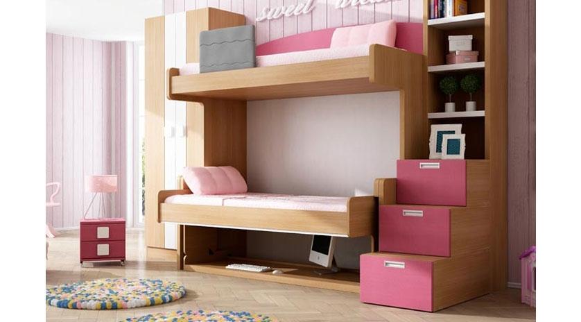 Dos camas de 90 x 190 con litera fija arriba y mesa - Literas con sofa cama debajo ...