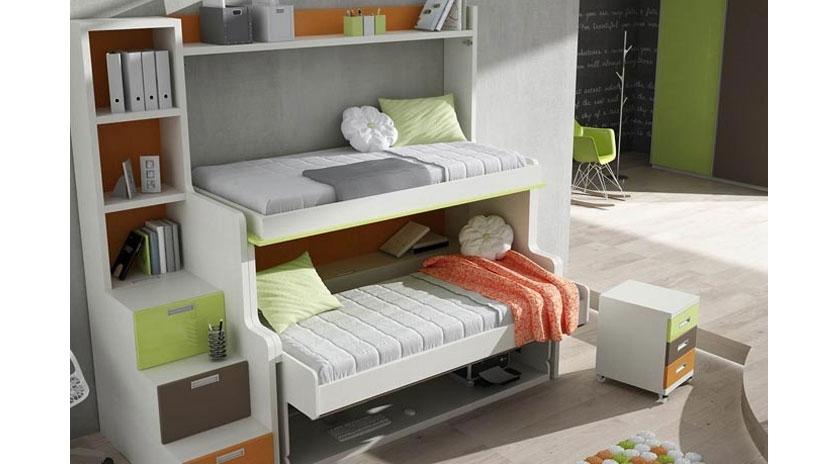 Mueble Cama Abatible Individual Y Litera Con Mesa Sofas Cama Cruces