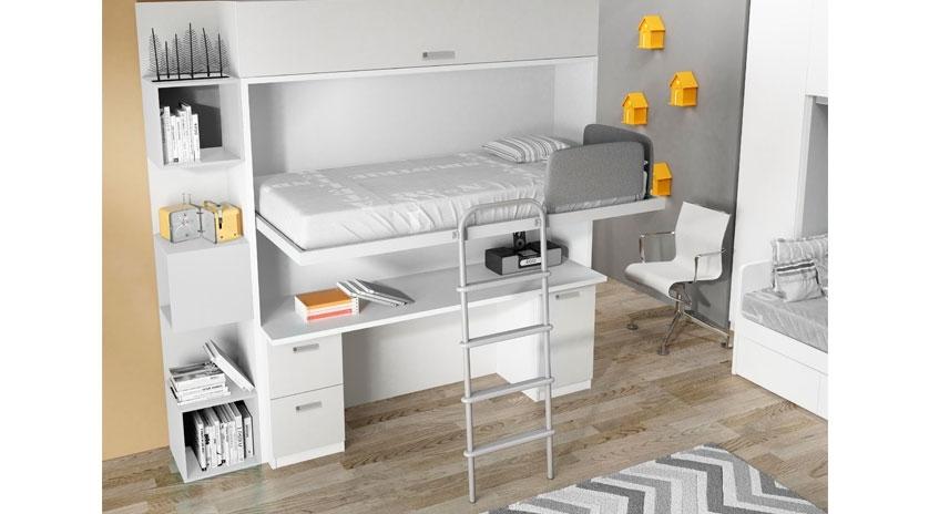 Mueble cama abatible arriba y mesa fija abajo sofas cama for Cama con cama abajo