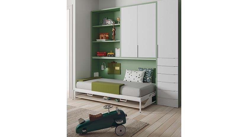 Cama abatible horizontal individual con mesa y armario - Muebles con cama abatible horizontal ...