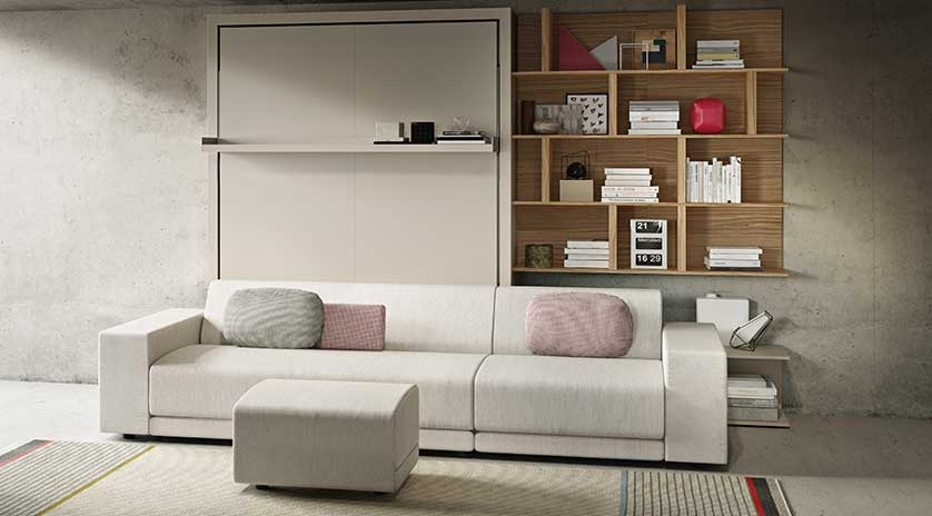 mueble cama abatible con sofá estilo nórdico
