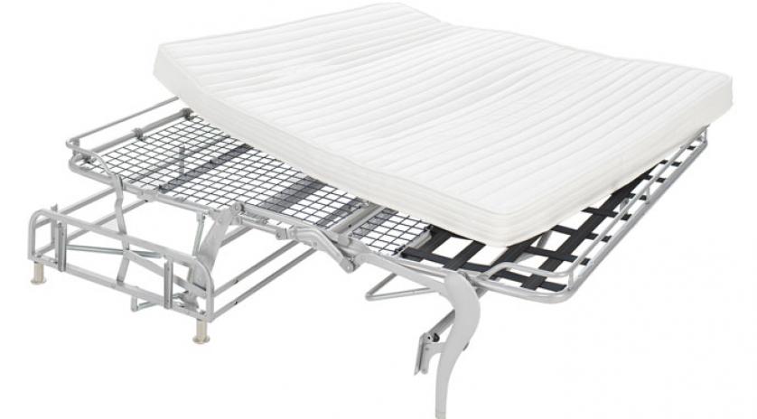 Sofá cama con colchón viscoelástico detalle somier