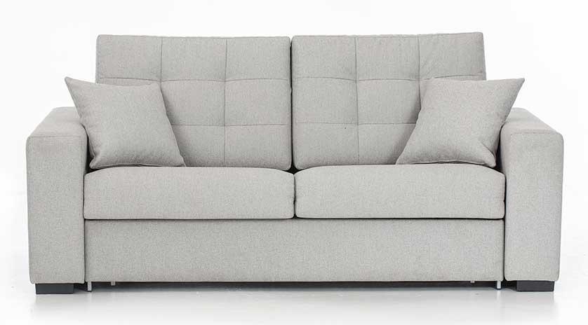Sofá cama con respaldo de capitoné abierto