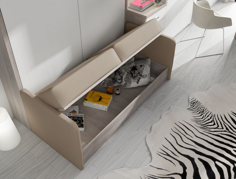 Muebles cama abatibles con sof la soluci n perfecta para for Sofas camas cruces
