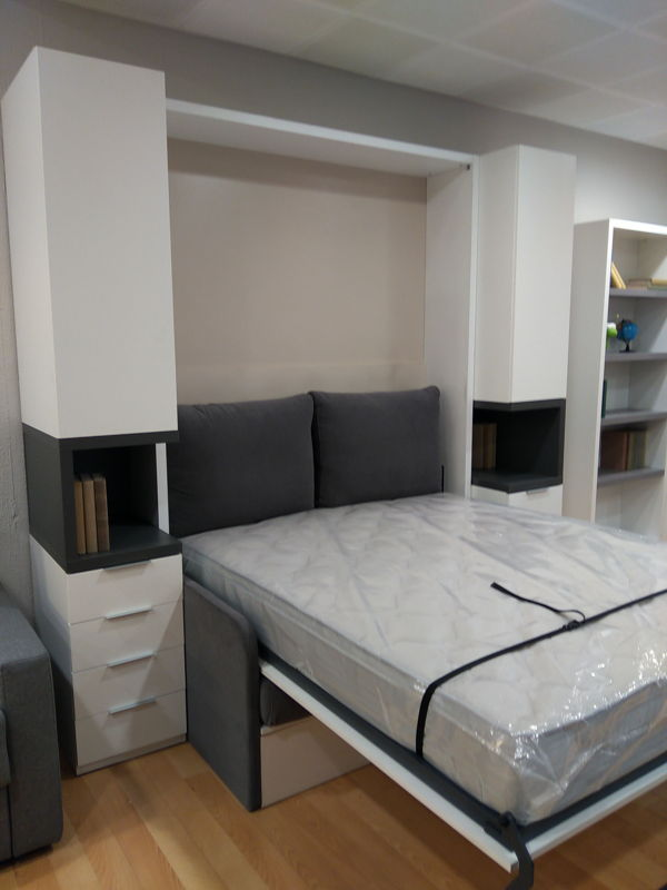 Cama abatible con sof delante y dos librer as sofas - Sofa cama cruces ...