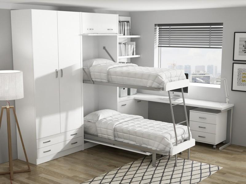 Mueble cama en apartamentos de esqu sofas cama cruces for Mueble litera abatible vertical